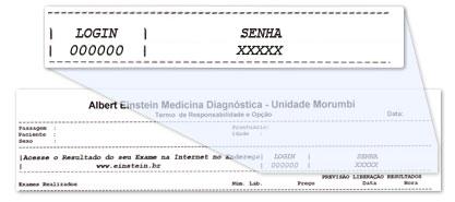 Einstein resultados de exames